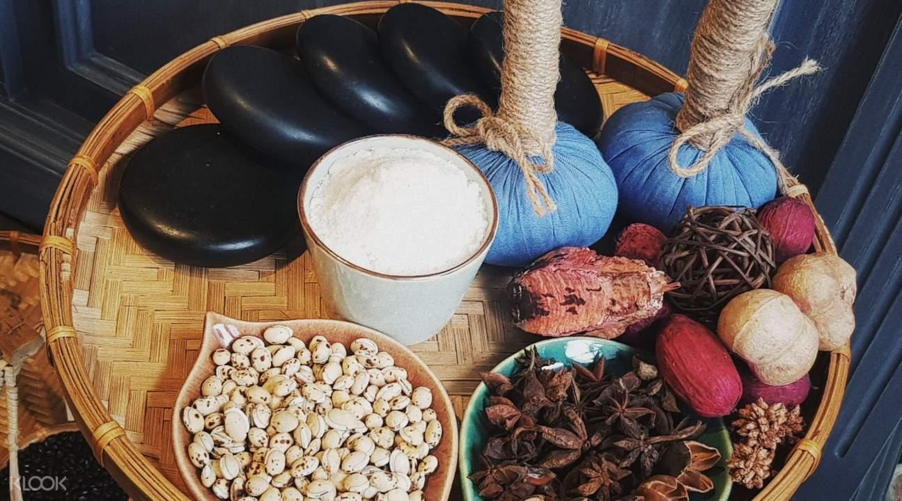herbs essential oil massage